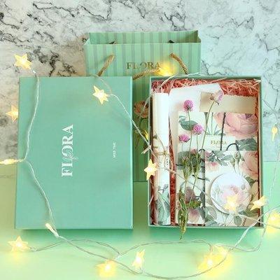 鹽系復古植物花朵手帳本INS風禮盒套裝空白本子文具生日禮物