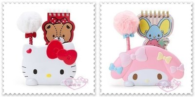 ♥小公主 ♥ Hello Kitty美樂蒂便條本附底座筆收納筒大臉 趴姿蝴蝶結愛心文具組買一送一 兩個