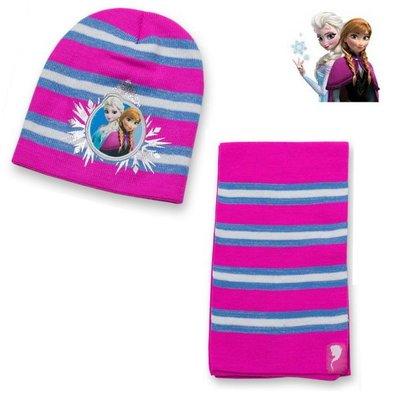 出口美國FROZEN冰雪奇緣桃紅底藍白金絲橫條紋毛線帽+圍巾組(4~8歲適用)禦寒專用