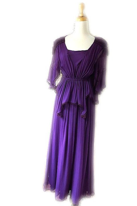 *Beauty*CHLOE紫色雪紡紗荷葉袖女神長洋裝 34   號   10000   元