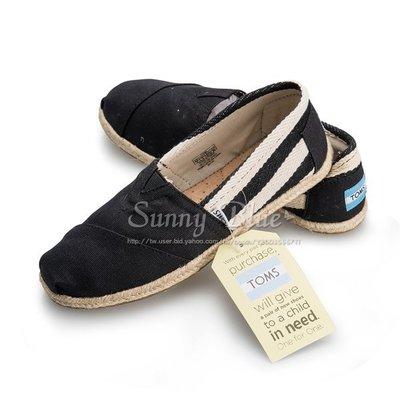 【TOMS】(女)TOMS UNIVERSITY 黑色粗條紋懶人帆布鞋-黑色 台北市