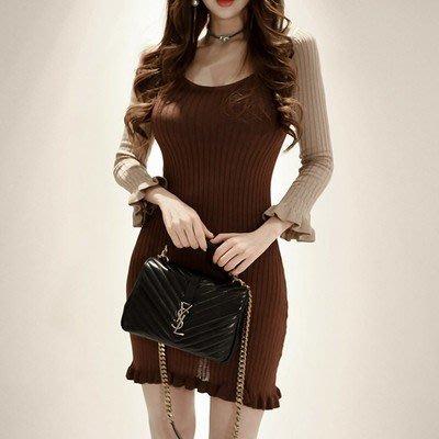 ❤Shinena 千奈公主❤ 100%正韓 小心機露背荷葉邊長袖拼接針織連身裙