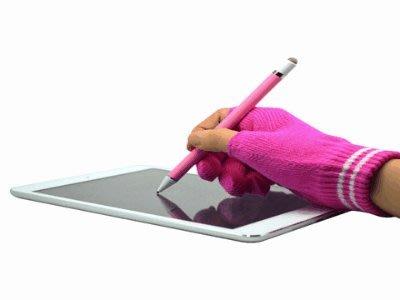 志佳1.5mm筆尖USB充電主動式觸控筆手寫筆+防誤觸手套(白筆身+藍手套) 手機/平板/iPad/iPad Air2