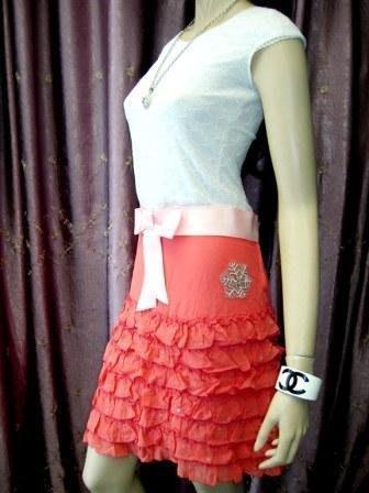 全新真品※【Blugirl】珊瑚紅雪紡紗亮片珠花蛋糕裙 (原價$27500元)