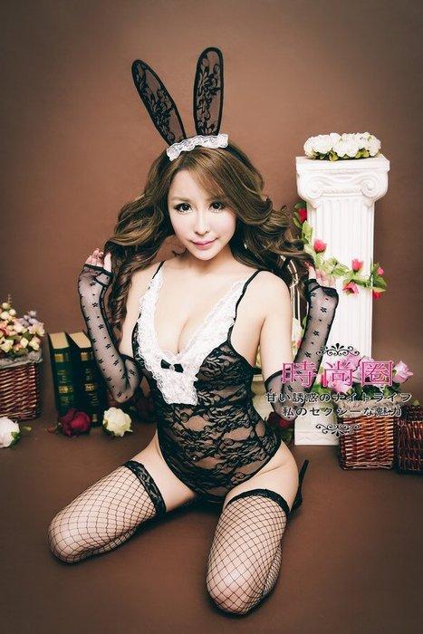 情趣兔女郎角色扮演四件組 私處開檔免脫可愛愛~誘惑性感連身衣贈袖套+贈網襪火辣爆乳全套超值情趣內衣 F709B-i12B
