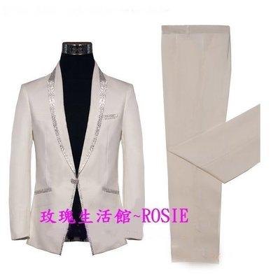 【演出show】~ 韓流新款~潮西裝,春夏西裝BLING黑,白2色 (現貨為單扣)