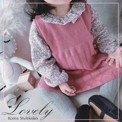 Sisterxoxo18冬 韓國蕾絲鏤空織花波浪網眼氣質針織背心裙 0-4歲女嬰女童 洋裝 兩色 [O1L9R7]