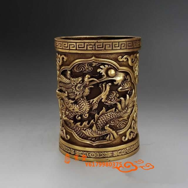 【福寶堂】特價純銅雙龍筆筒風水擺件利學業旺事業文房用品古玩銅器工藝禮品