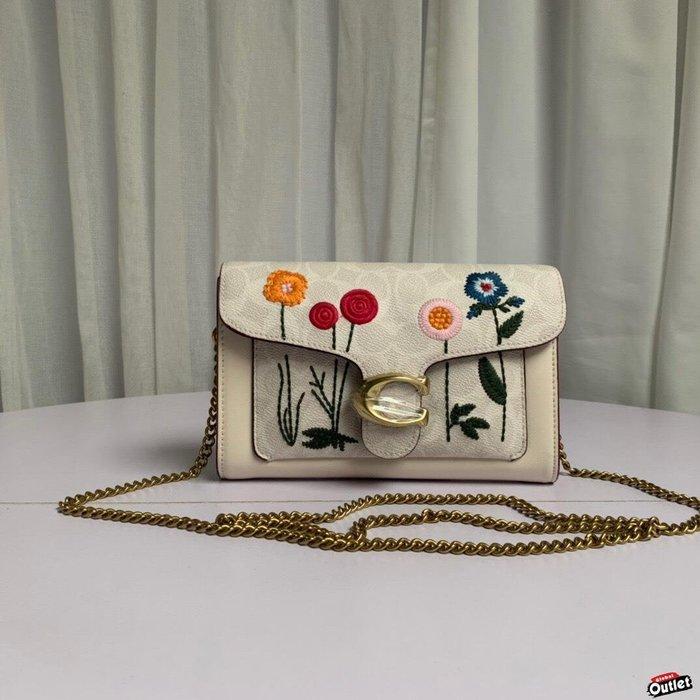 【全球購.COM】COACH 806 新款女士花朵鏈條手拿包 鏈條包 單肩斜挎包 美國代購
