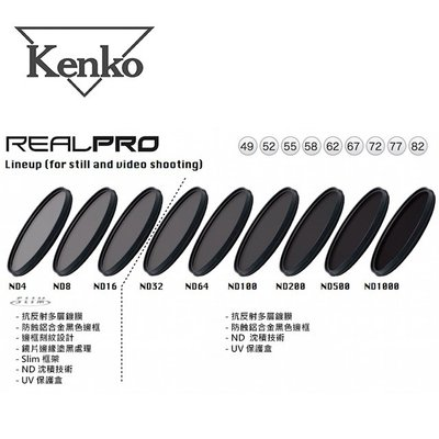 ◎相機專家◎ Kenko RealPRO ND1000 58mm 防水抗油汙多層膜減光鏡 減5格 公司貨