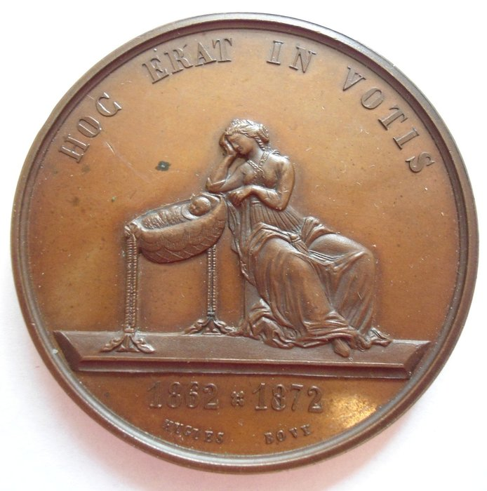 瑞士銅章 1872 Birth of A Son in Dufour Verne Family Medal