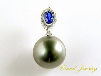 珍珠墜 六月生日石 大溪地南洋黑珍珠 14.35mm 藍寶 95分 鑽石墜 保證書【大千珠寶】
