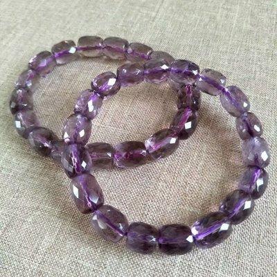 □§Disk的天然水晶§□【開智慧】AA級紫水晶鑽石切面桶珠手鍊(特價不挑款)FO29