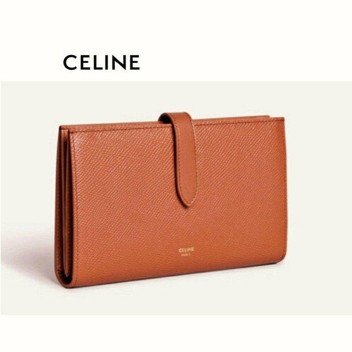 CELINE ►( 棕褐色×金屬金色 )   防刮壓紋 真皮 兩摺長夾 錢包 皮夾|100%全新正品|特價!