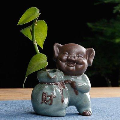 茶寵花器綠植擺件紫砂茶玩紫砂陶瓷創意花插茶道可養可愛小豬花瓶