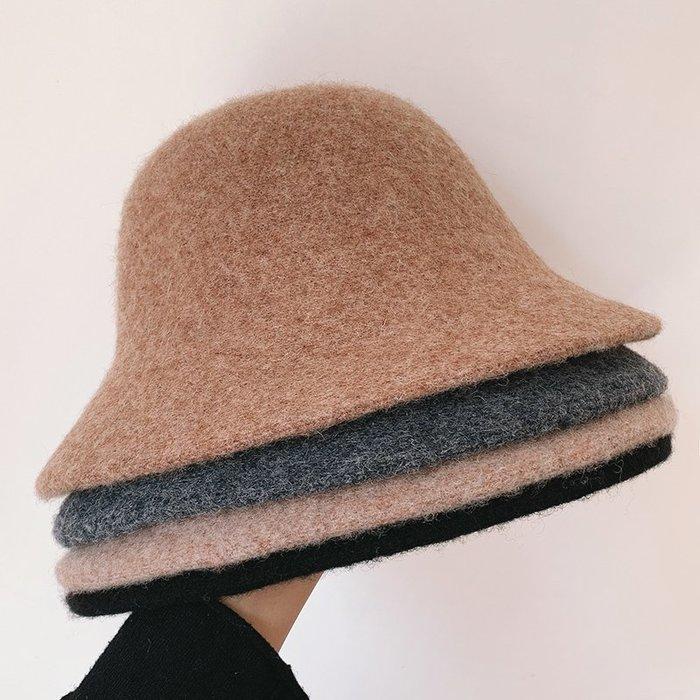 衣萊時尚-加厚羊毛呢盆帽毛線帽子女漁夫帽冬天韓版日系ins風英倫禮貌百搭