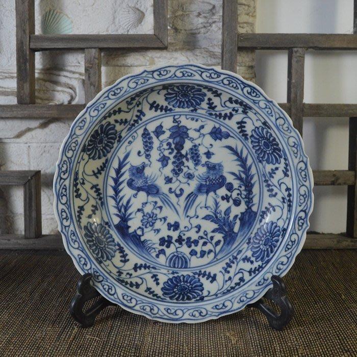 百寶軒 仿古瓷器復古明永樂風格手繪青花鴛鴦紋瓷盤古董古玩收藏品 ZK1782