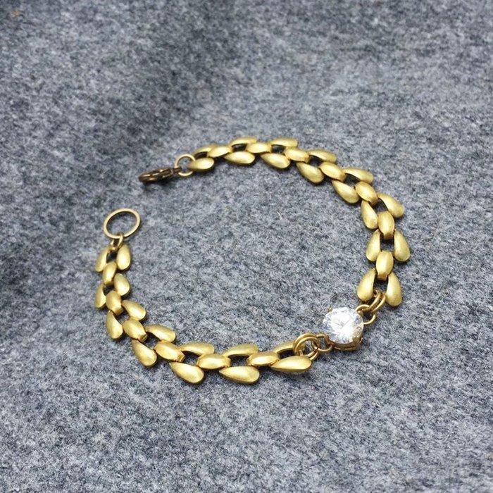 月葉::鋯石黃銅手鍊 - 復古時尚 / 交換禮物 / 生日禮物 /手鍊手環 禮物客製設計