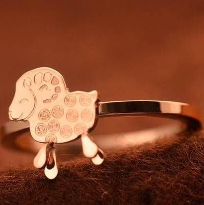 玫瑰金 純銀戒指-正韓流行生日禮物可愛銅錢小羊飾品71am70[獨家進口][米蘭精品]