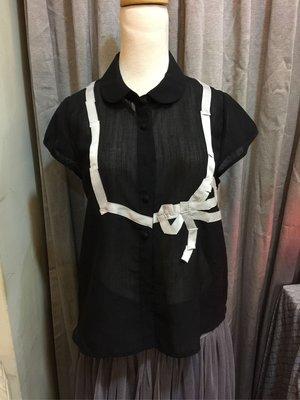 a la sha 黑色白色配色優雅襯衫2號