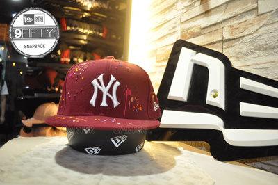 New Era MLB Coopers Town NY Yankees 復古洋基調色盤油漆酒紅色可調式棒球帽9Fifty