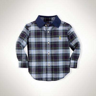 *小豆仔的屋Dou Dou House*美國Ralph Lauren童裝/深藍領子格子襯衫上衣(現貨+預購)