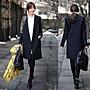韓國西裝領復古英倫風直筒經典黑色氣質端莊...