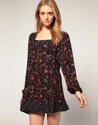 (嫻嫻屋) 英國ASOS新品 Vero ModaPatchwork Smock Dress甜美款印花拼接長袖洋裝 UK8現貨