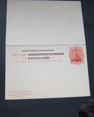 【雲品】祖魯蘭Zululand 1893 overprint Postcard double SPECIMENT (HG #4)- SCARCE