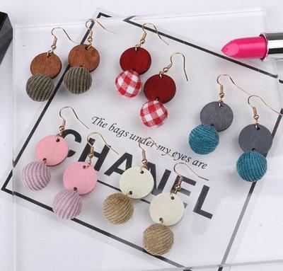 E-198 韓版新款木片耳墜長款毛球簡約百搭耳釘耳飾