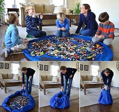 670巷:兒童玩具收納袋(大) 秒收袋 玩具墊【超大150公分玩具收納袋-玩具墊-野餐墊-深藍色下標區】