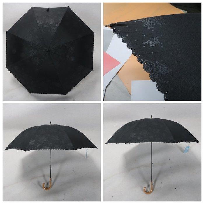 奇奇店-兩段式貴婦傘黑色暗影玫瑰花銀膠防紫外小花邊晴雨傘#加固 #小清新 #晴雨兩用