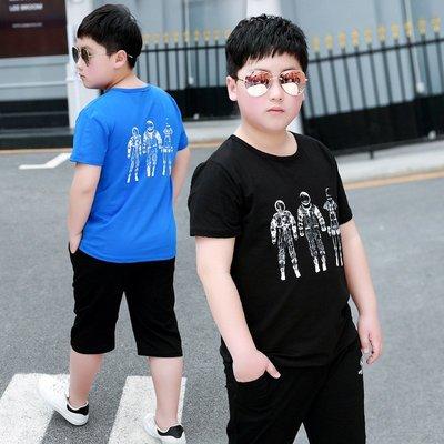 hello小店-中大童男童夏裝套裝2019夏款新款加肥加大胖童裝夏季短袖套裝潮#兒童上衣#襯衫#短袖t恤#