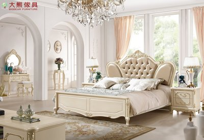 【大熊傢俱】931 韓戀 歐式床 床台 六尺床 雙人床 法式 皮床  另售床頭櫃 妝台