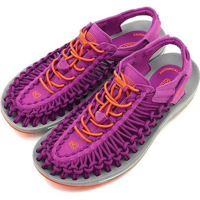 =CodE= KEEN UNEEK SLICE FADE SANDALS編織彈性綁繩涼鞋(紫橘)1014969 拖鞋 女