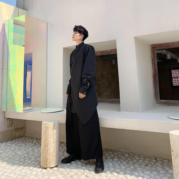 FINDSENSE 2019 秋季上新 G19 素面襯衫 日系山本風不對稱設計長袖氣質飄帶襯衫 男裝 上衣