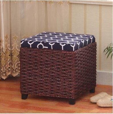 【優上】宜家草編多功能收納凳儲物凳子換鞋凳中式沙發凳「深咖色正方形款」