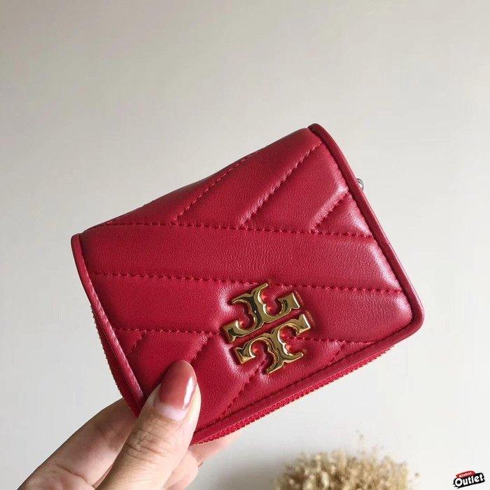 【全球購.COM】TORY BURCH TB 2019新款 小羊皮短夾 紅色錢包 輕奢時尚 美國Outlet代購