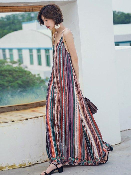 時尚名族風寬松吊帶長裙連衣裙沙灘裙女夏2018新款海邊度假裙泰國