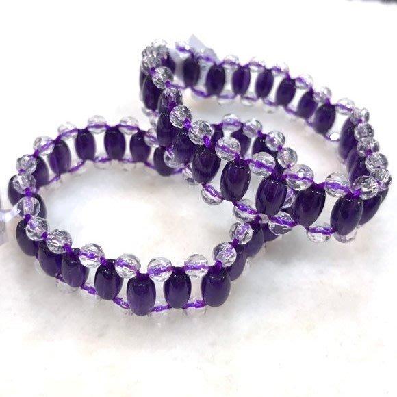 『純天然水晶量販』天然紫水晶手排搭配天然白水晶~早期商品亮透度超棒~特級品