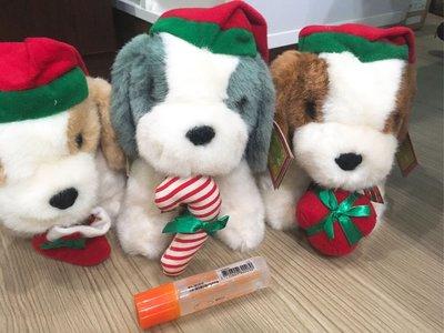 9成新 三隻一起售 聖誕 寵物 狗狗 大頭狗 娃娃 玩具 玩偶 絨毛 填充 可愛 小朋友國外帶入二手禮物送禮禮品約會
