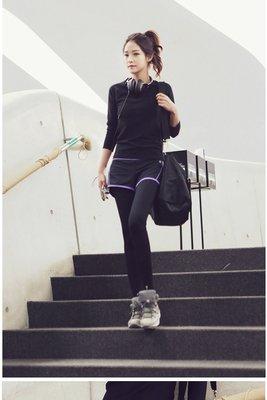 ☆恩祐小舖- 韓系 高彈力瑜伽服 跳操健身緊身褲 休閒九分長褲 兩件套 @ 【運動系列】