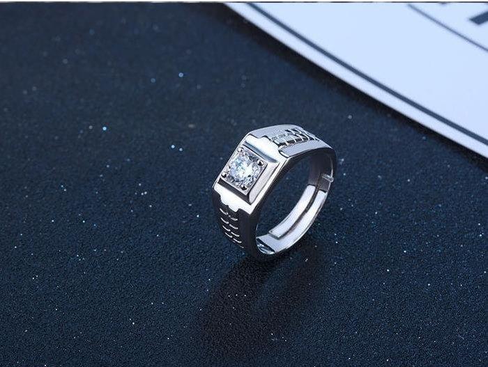 日韓時尚白金方格男戒鋯石水鑽可調式開口戒指情人節禮物生日禮物買一送二
