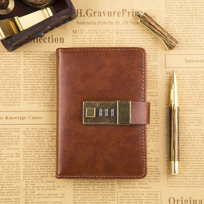 A7復古密碼日記本學生筆記本口袋手賬本文具隨手記事本子 愛本客