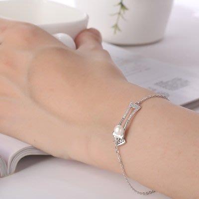 珍珠 手 鍊 925純銀手環-6mm鏤空鑲嵌情人節生日禮物女飾品73qn13[獨家進口][巴黎精品]