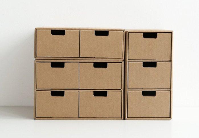 紙質桌面收納盒辦公學生整理盒自由組合多層抽屜收納盒(二層抽屜)☆找好物FINDGOODS☆