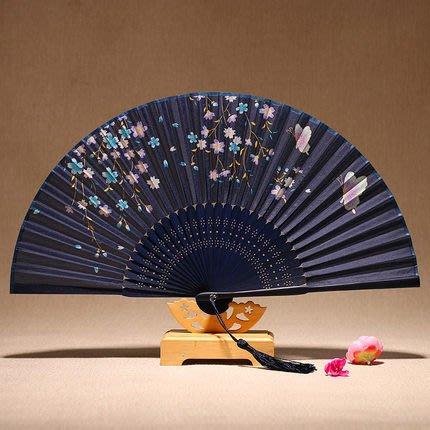 扇子折扇中國風復古女扇子 夏季女式折疊扇舞蹈絹扇小日用古風折扇