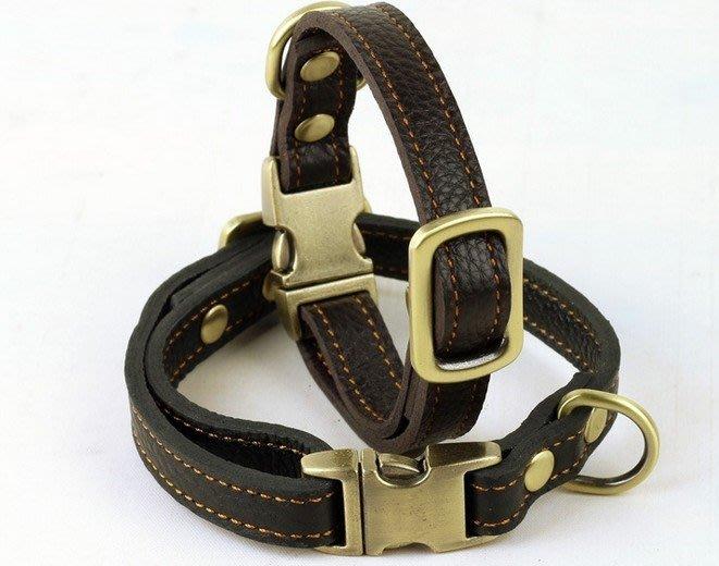 牛皮狗項圈中型犬狗脖套寵物項圈狗鍊小型犬狗脖圈可調節SMB22255
