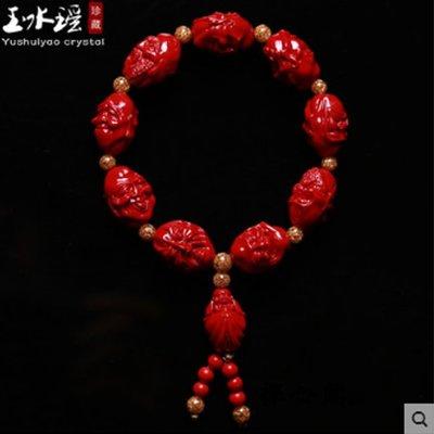 【禪心閣】紅朱砂手鏈雕刻十八羅漢金箔佛珠手串男女飾品念珠手持把玩20190380