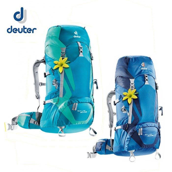 丹大戶外 德國【Deuter】ACT Lite 35+10SL 女款拔熱式輕量背包 藍/綠色;深藍/藍 3340015